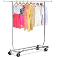 Rolling Collapsible Chrome Single Rail Clothing Rack