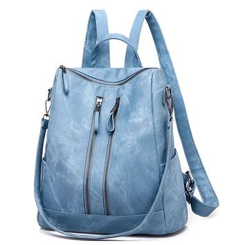 She's On the Go Blue Leather BackPack