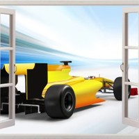 """Yellow Race Racing Car Sport Sports Outdoors View Home Office Kitchen Kids Nursery Room Gift 3D Unique Window Depth Style Vinyl Print Removable Wall Sticker Decal Mural Size 19.6"""" x 27"""" by Bomba-Deal"""