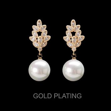 Crystal Cz Drop Pearl Post Earring