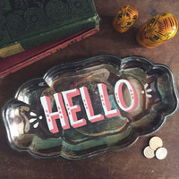 Hand painted vintage silver tray, hand lettered jewelry holder, antique catch all, change bowl