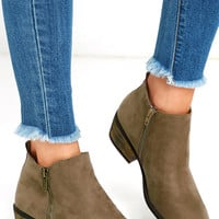 Wander My Way Taupe Suede Ankle Booties