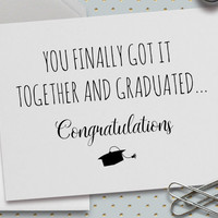 Funny Graduation Card, Funny Congrats Card, 5.5 x 4.25 Inch (A2), Cards for Friends, Graduation Card, High School, High School Graduation