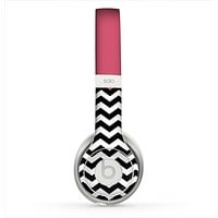 The Solid Pink with Black & White Chevron Pattern Skin for the Beats by Dre Solo 2 Headphones