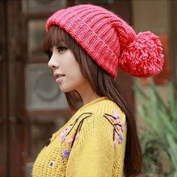 CREYCI7 New Fashion Designer Oversized Women's Winter Slouch Knit Cap Warm Cuffed Beanie Colors Wool Crochet  Hat