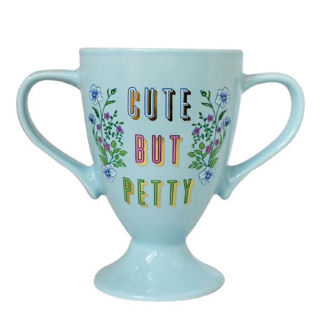 Image of Cute But Petty Trophy Mug in Blue Floral Design