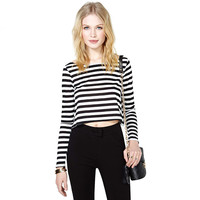 Striped Long Sleeve Cropped Top