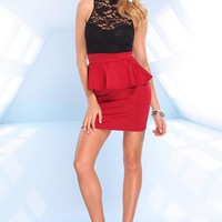 Black & Red Peplum Dress with Lace Top & Cutout Back