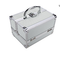 3-Tier Mini Portable Extendable Makeup Train Case, Aluminum Cosmetic Box organizer case with Foam Padded Package Box + Mirror +  Key