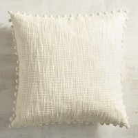 Basketweave Pompoms Ivory Pillow
