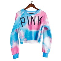 """PINK"" Victoria's Secret Pattern Print Off Shoulder Multicolor Top Blouse Pullover Sweater Shirt"