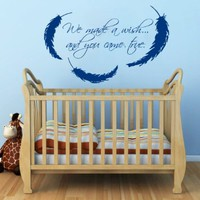Wall Decals Vinyl Decal Sticker Mother Love Quote We Made a Wish and You Came True Interior Feather Bedroom Boy Girl Kids Room Baby Nursery Decor