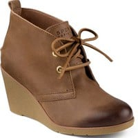 Sperry Top-Sider Harlow Burnished Leather Wedge Bootie Cognac, Size 12M  Women's Shoes