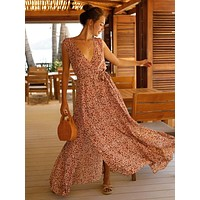 Surplice Plunging Split Thigh Ditsy Floral Dress