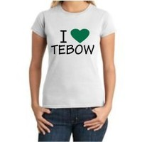 I Love Tebow White Ladies T-Shirt with Green Heart by BBG