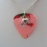 Fender mixed color guitar pick necklace with heart charm
