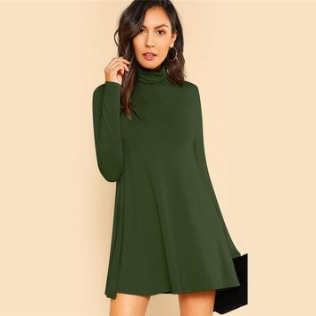 High Neck Flowy Mini Dress Women Long Sleeve Fit and Flare Dresses Clothes Ladies Casual Dress