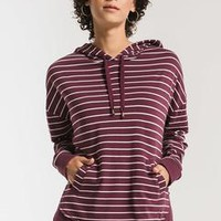 The Stripped Dakota Pullover- Pearl/Mauve Wine