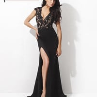Homecoming Dresses - Tony Bowls Evening TBE21410 Black Lace