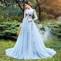 Blue appliques lace tulle Abendkleider vestido de festa scoop full sleeve prom Gowns robe de soiree Long Prom Dresses 2017