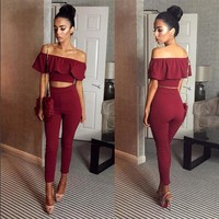 Two Piece Outfits  Crop Top And Long Pants