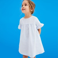 DRESS WITH RUFFLED SLEEVES