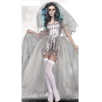 Sexy devil Costume for women Halloween Bride Scarey Cosplay White Ghost prom Dress 40081