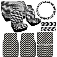 BDK 13 Piece Gray Chevron Design Complete Set - 9 Piece Seat Covers and 4 Piece Carpet Mats - Premium Design.