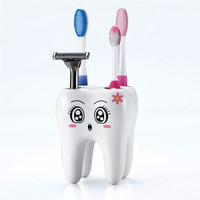 New Home Toothbrush Holder Bracket Container For Bathroom Novelty 4 Hole Tooth Style Home decor Brand Free shipping