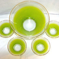 50s Blendo Lime Green Salad Set 1 Large and 4 Small West Virginia Glass