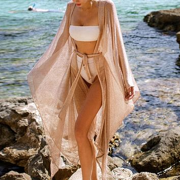 Loose beach sun protection shirt vacation sexy cardigan swimsuit bikini outer cover apricot