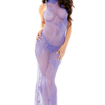 Plum Pretty Lace Gown with G-String