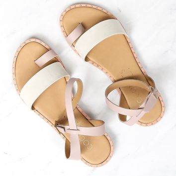 coconuts by matisse - sundown wrap leather flat sandal - pink