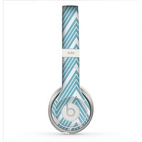 The Three-Lined Blue & White Chevron Pattern Skin for the Beats by Dre Solo 2 Headphones