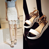 Stylish Wedge Hollow Out Fashion With Heel Leopard Summer Waterproof Sandals = 4871011844