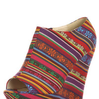 Tribal Print  Wedge Booties