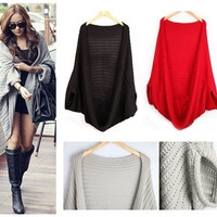 New Winter Women Knitted Sweater Batwing Cape Shawls Long Cardigan Jacket Sweatshirt