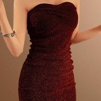 Wine Red Strapless Mini Dress