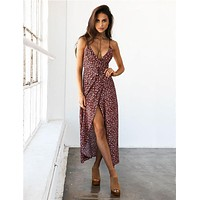 Fashion Split Floral Print Deep V-Neck Backless Sleeveless Strap Maxi Dress