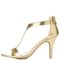 Bamboo Metallic T-Strap Heels by Charlotte Russe - Gold
