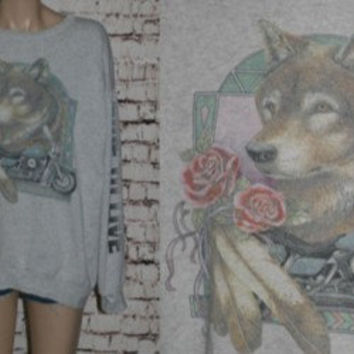 90s Sweatshirt Wolf Motorcycle Scooter Distressed Grunge Punk Hipster Hippie Festival Mens Wear 80s Indian Feather Graphic Tshirt T Shirt XL