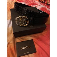 Authentic Men's Gucci GG Snake Hiss Black Leather Size 32 NEW Designer Belt