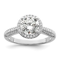 Sterling Silver & CZ Brilliant Embers Round Halo Ring
