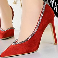 Sexy side fine heel suede shallow mouth pointed head side hollowed-out water drill single shoes