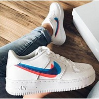Nike Air Force 1 Women Men Casual Pink Blue Double Hook Sport Running Shoes Sneakers