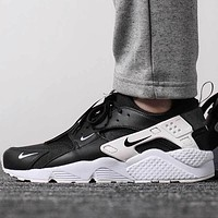 NIKE AIR HUARACHE RUN PRM Couple Black & White Casual Sneakers