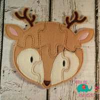 Felt deer buck puzzle embroidered embroidery jigsaw puzzle learning toy, activity, quiet game, kids toys, montessori, homeschool, busy book