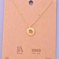 Dainty Circle Coin Virgo Zodiac Symbol Necklace - Gold, Silver or Rose Gold
