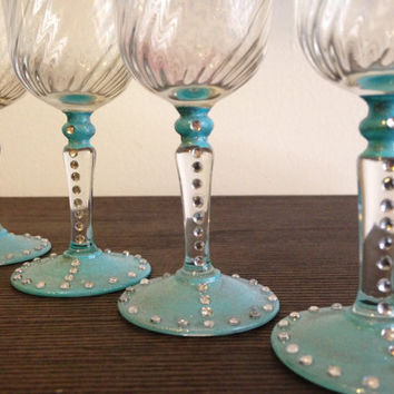 Blue Rhinestone Port Glasses (set of 4)