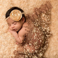 2017 Fashion Newborn Infant Baby Lace Towel Bath Towel Floral Fabric Wrapped Blanket Swaddling Photography Props Costume